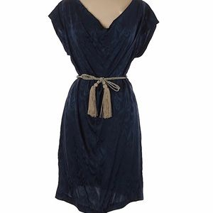 Trina Turk NWT Blue dress with gold rope belt